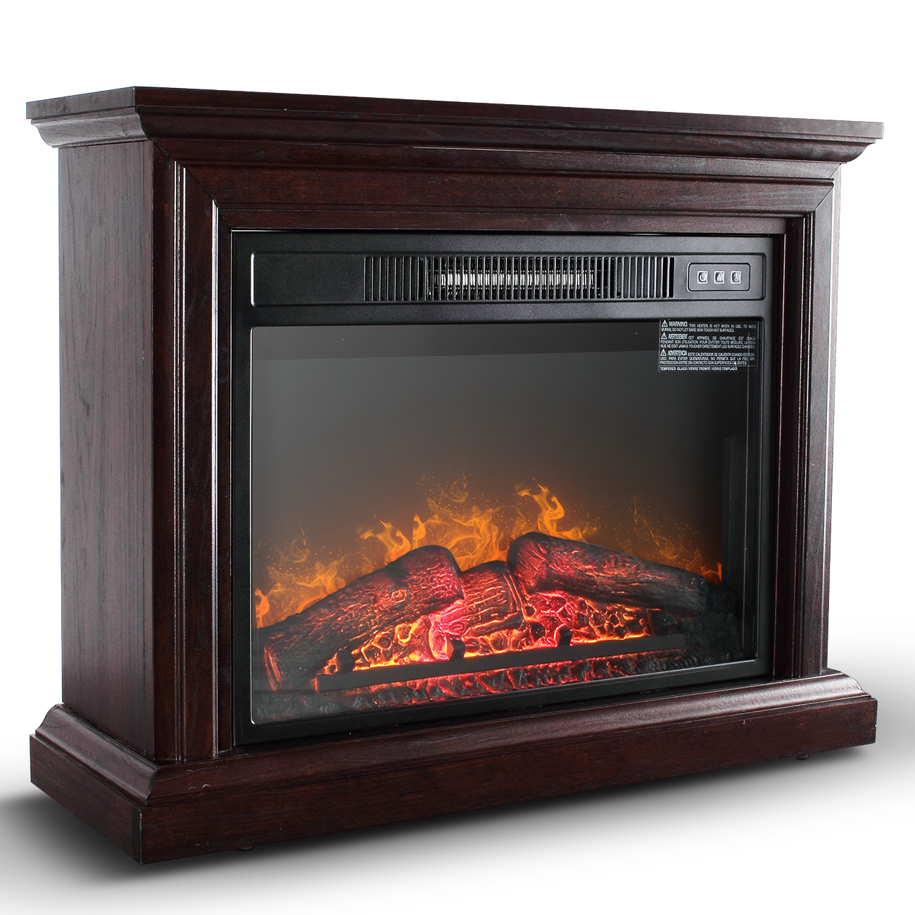 Della 1400W Deluxe Infrared Quartz Fireplace Heater Indoor Flame Wood Log Caster w/ Remote Control, Oak