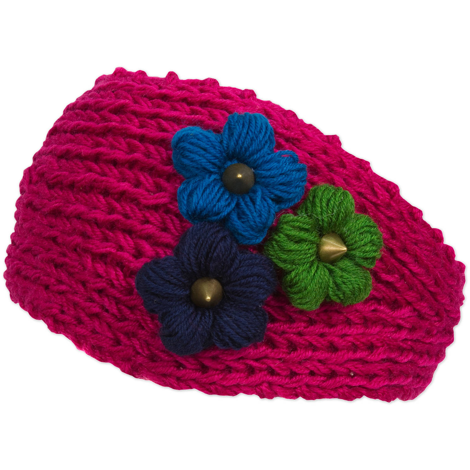Magid Headwrap with Tri Color Flowers, Fuchsia