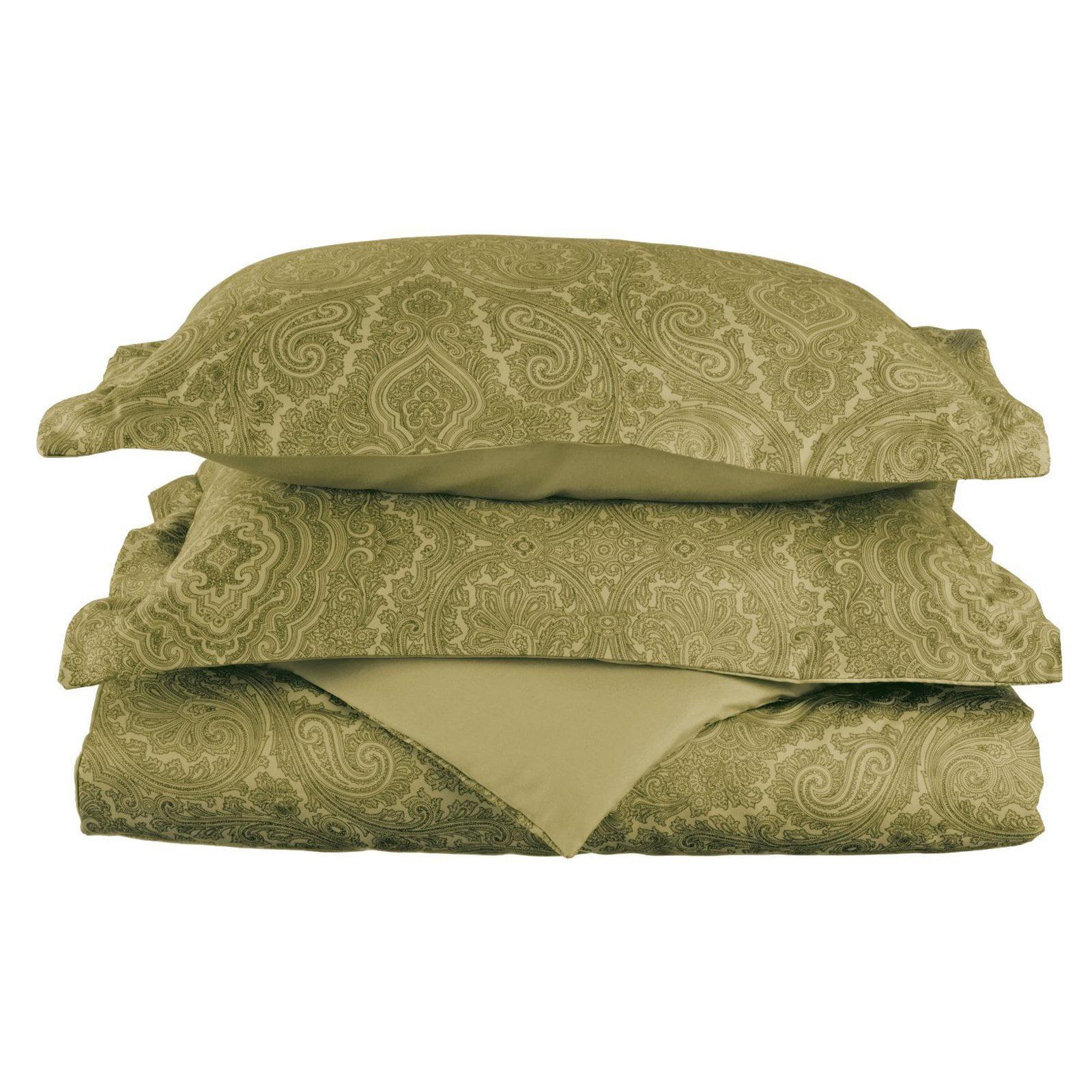 Superior 600 Thread Count Wrinkle-Resistant Cotton Blend Italian Paisley Design Duvet Cover Set with Sham
