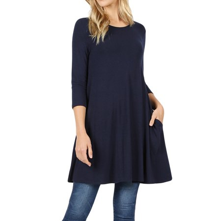 Women Round Neck Long or 3/4 Sleeve Flattering Comfy Swing Tunic Loose Fit Flowy Top