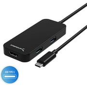 Sabrent Black Aluminum Type-C to 2-Port USB 3.0 and HDMI Adapter (HB-HDUC)