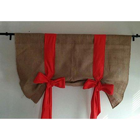 km curtains handmade tie up valance window treatment valance burlap tie up valance orange 40. Black Bedroom Furniture Sets. Home Design Ideas