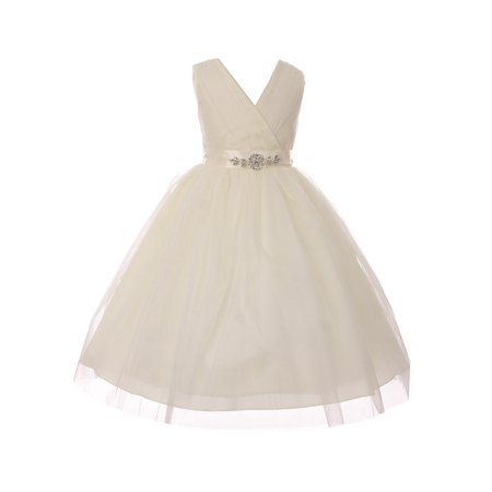 Girls Ivory Rhinestone Satin Sash V-Neck Tulle Junior Bridesmaid