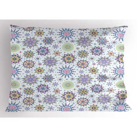 Winter Pillow Sham Pastel Colored Detailed Floral Figures Artistic Cute Sweet Snow Blizzard Pattern, Decorative Standard Queen Size Printed Pillowcase, 30 X 20 Inches, Multicolor, by (Best Dairy Queen Blizzard Combination)