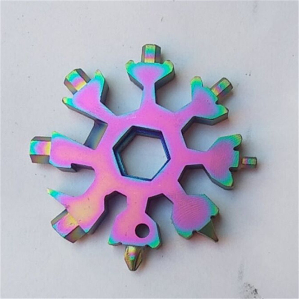 Multicolor 18-in-1 Multi-Tool Card Combination Compact Portable Outdoor Products Snowflake Tool Card