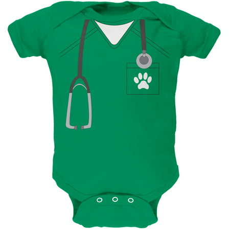 Halloween Vet Veterinarian Scrubs Costume Kelly Green Soft Baby One Piece - Child Veterinarian Costume