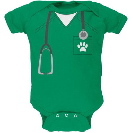 Halloween Vet Veterinarian Scrubs Costume Kelly Green Soft Baby One Piece - Unique Halloween Costumes For Babies Homemade
