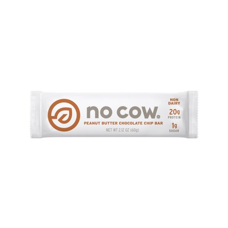 No Cow Protein Bar, Peanut Butter Chocolate Chip, 20g Plant Based Protein, Low Sugar, Dairy Free, Gluten Free, Vegan, 12 Count