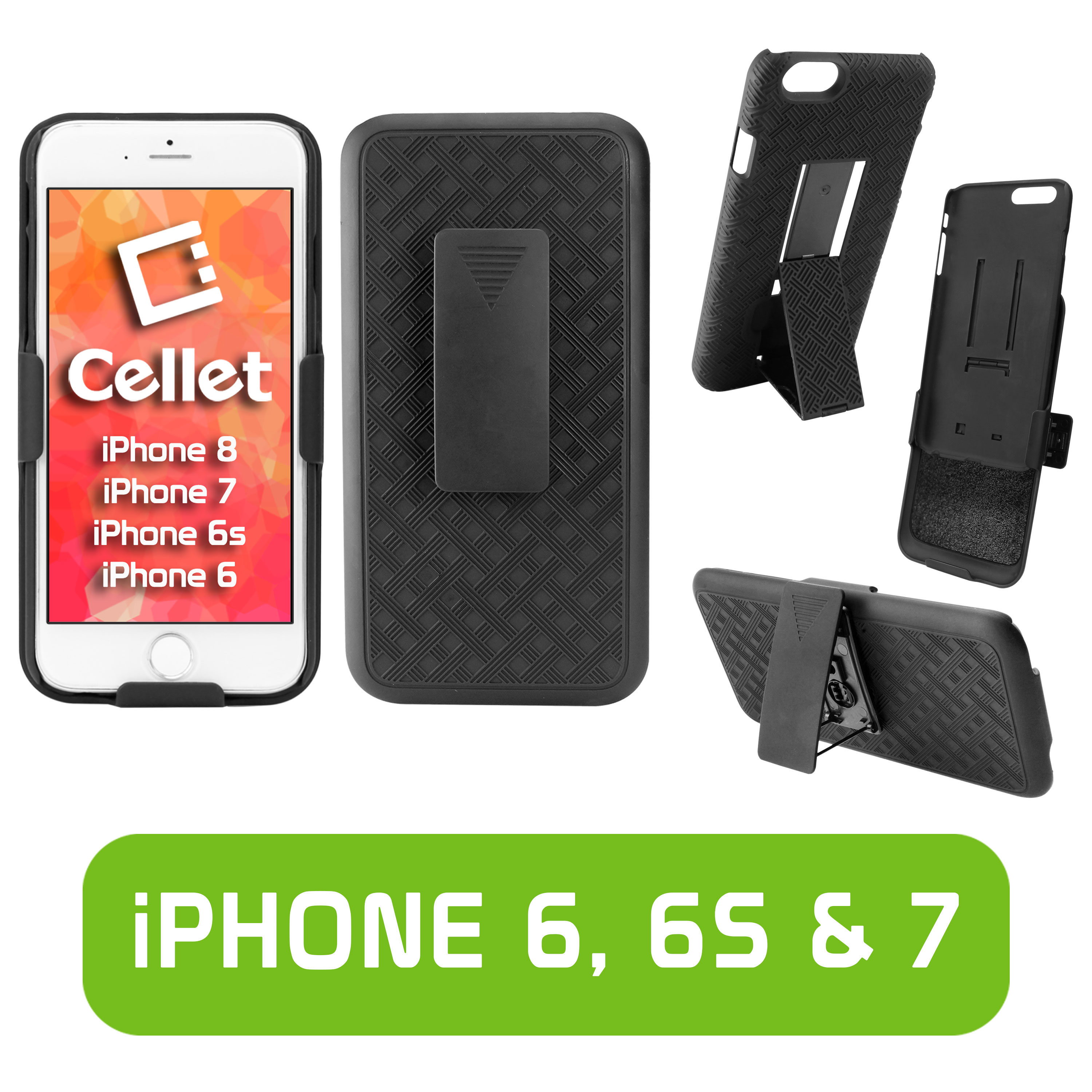 Cellet Shell + Holster + Kickstand Combo Case for Apple iPhone 8, 7, 6, or 6s