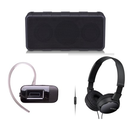 Tech & Gadget Lovers Electronics Gift Set Portable Audio Bundle Holiday Christmas - Rugged Wireless Speaker + Bluetooth Headset + Sonyy Headphones for iPhone & Android (New Open Box) ()