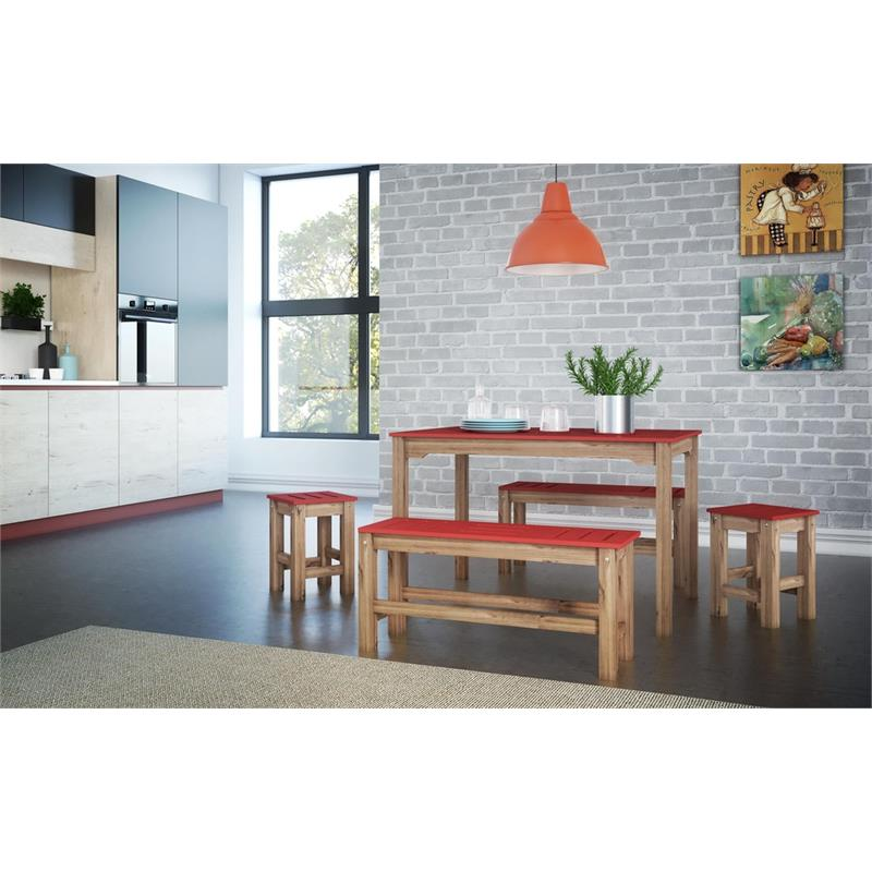 """5-Piece Stillwell 47.25""""  Dining Set  in Red and Natural Wood"""
