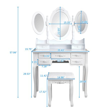 Makeup Vanity Table, Vanity Set with Tri-Folding Mirror, Wood Dressing Table w/Stool&7 Drawers Storage Bedroom Furniture for Girls Women White - Dressing Up Ideas For Girls