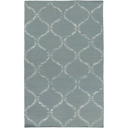 - 8' x 10' Egyptian Windows Slate Gray and Ivory White Area Throw Rug