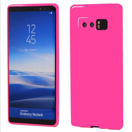 Galaxy Note8 Case, ANLEY Candy Fusion Series - [Shock Absorption] Classic Jelly Silicone Case Soft Cover for Samsung Galaxy NOTE 8 (Neo Pink) + Free Ultra Clear Screen Protector