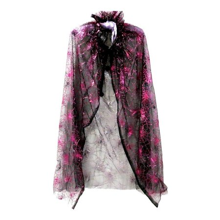 Little Girls Black Hot Pink Spiderweb Print Halloween Cape 2-7