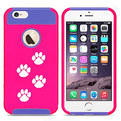 For Apple iPhone 7 Shockproof Impact Hard Soft Case Cover Paw Prints Walking (Hot Pink-Blue)