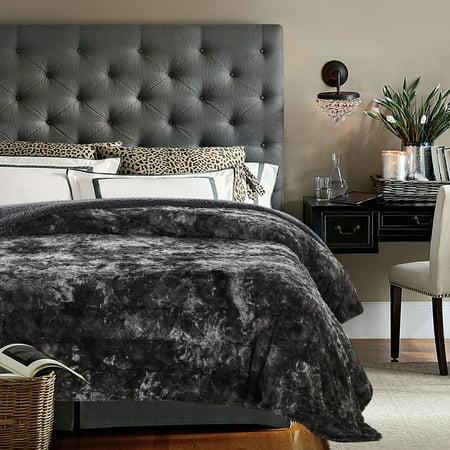 Chanasya Super Soft Fuzzy Fur Faux Fur Cozy Warm Fluffy Beautiful Color Variation Print Plush Sherpa Dark Gray Fur Twin Microfiber Throw Blanket - TWIN Gray ()