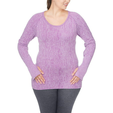 Active Power Control - Under Control Women's Plus Super Soft Lux Seamless Active Round Neck Top with Thumb Hole