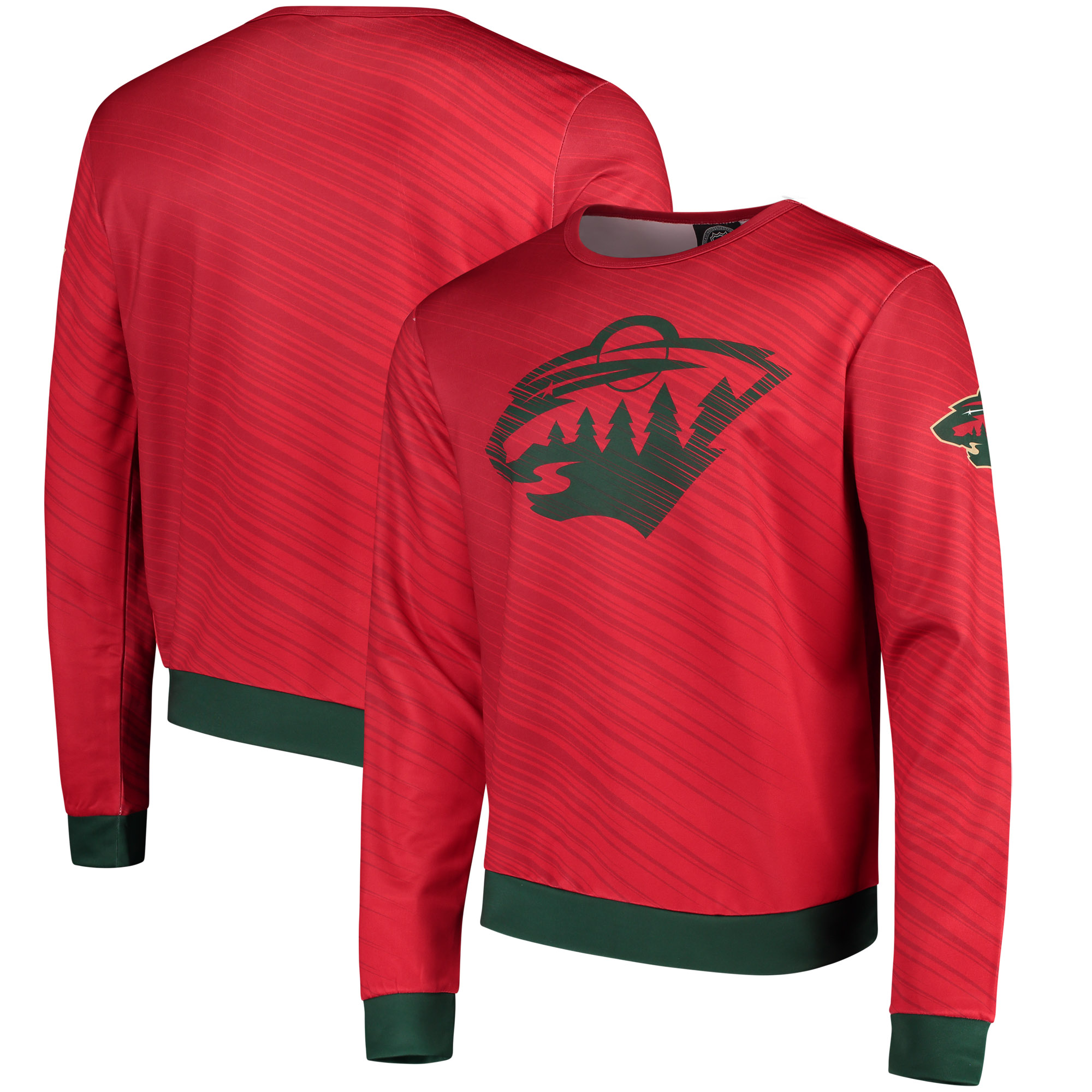 Minnesota Wild Static Rain Printed Sweatshirt - Red