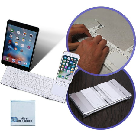 Foldable Bluetooth Keyboard with Touchpad for Smartphones, Tablets, Computers, iPhones, Samsung, Android, iPads + eCostConnection Microfiber Cloth ()