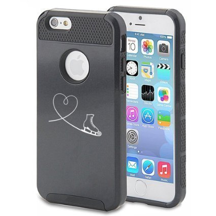 Apple iPhone 6 Plus / 6s Plus Hybrid Shockproof Impact Hard Cover / Soft Silicone Rubber Inside Case Heart Love Ice Skating (Black),MIP