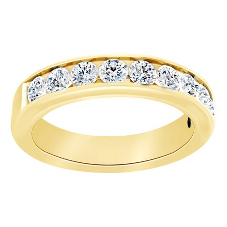 Round Cut Simulated White Moissanite Anniversary Band Ring In 14K Solid Yellow Gold , Size-6