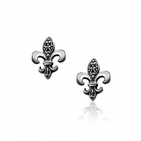 Antique Style Two Tone Oxidized Fleur De Lis Symbol Stud Earrings For Women 925 Sterling Silver 14MM