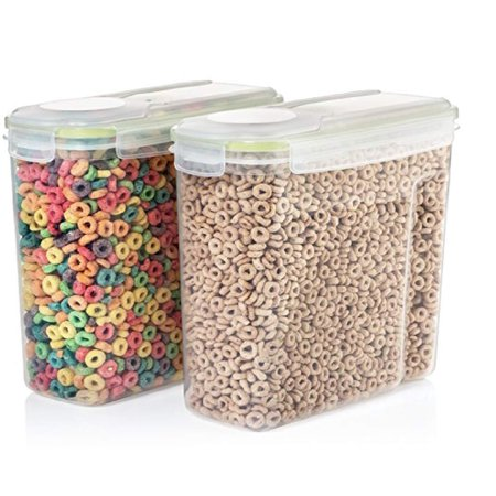 Plastic Storage Containers With Lids (Set of 2 Clear Plastic Cereal Food and Snack Kitchen Storage Containers with Lids 4L Capacity - 100% Airtight and BPA Free Anti Slip-Perfect for Storing Snacks,Dry Cereal, Grains, Beans,Flour,Dog)