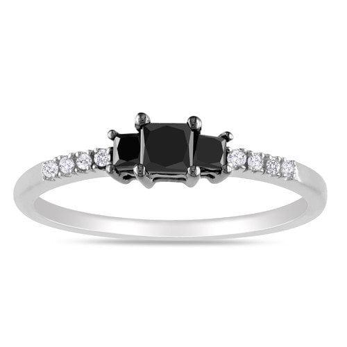 Amour Sterling Silver Princess Cut Diamond Ring