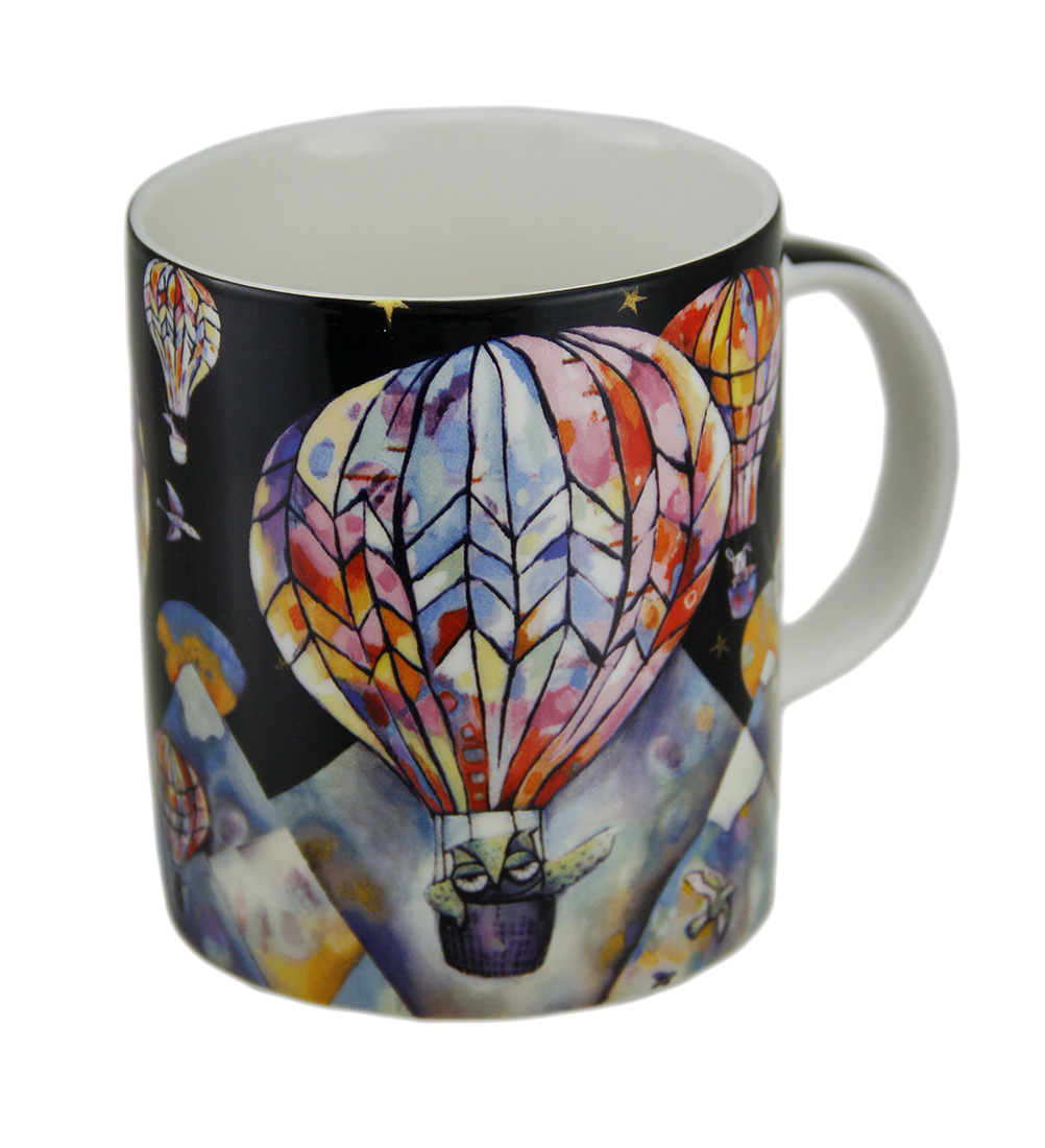 Allen Designs Up and Away Hot Air Balloon Colorful Ceramic Coffee Mug 10 oz.