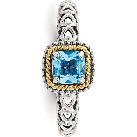 Sterling Silver w/14k Gold Blue Topaz Ring - image 5 of 6