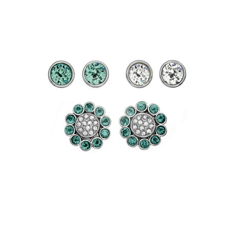 X & O Rhodium Plated 4-Piece Green Zircon Floral Stud Earring Jacket Set, Made With Swarovski Crystals