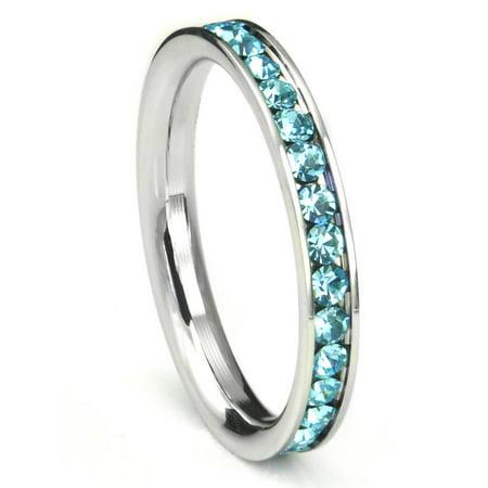 316L Stainless Steel Aquamarine Light Blue Cubic Zirconia CZ Eternity Wedding 3MM Band Ring Sz 7