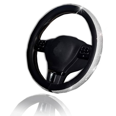 Bling Steering Wheel Cover - Zone Tech Shiny Crystal Steering Wheel Cover with PU Leather
