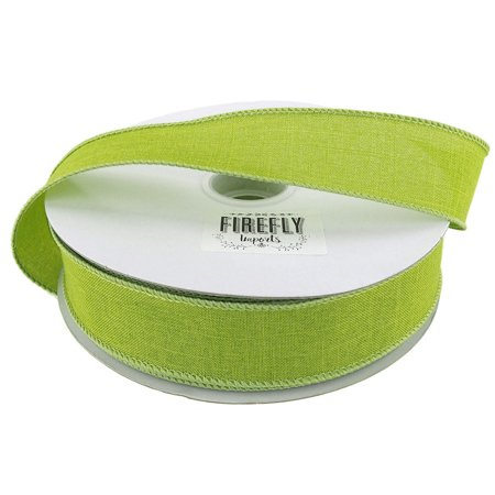 Linen Fabric Ribbon Wired Edge, 1-1/2-Inch, 50 Yards, Apple Green