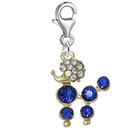 Poodle Dog With Royal Blue crystals Clip on Pendant Charm for Bracelet or