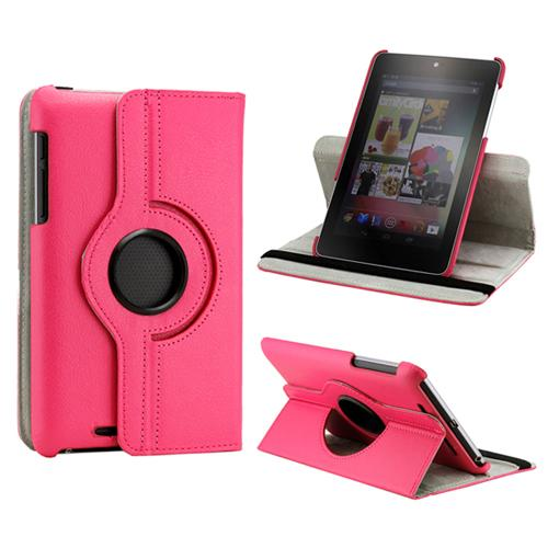 Hot Pink 360 Degree Rotating PU Leather Case Cover Swivel Stand for Google Nexus 7 Asus Tablet