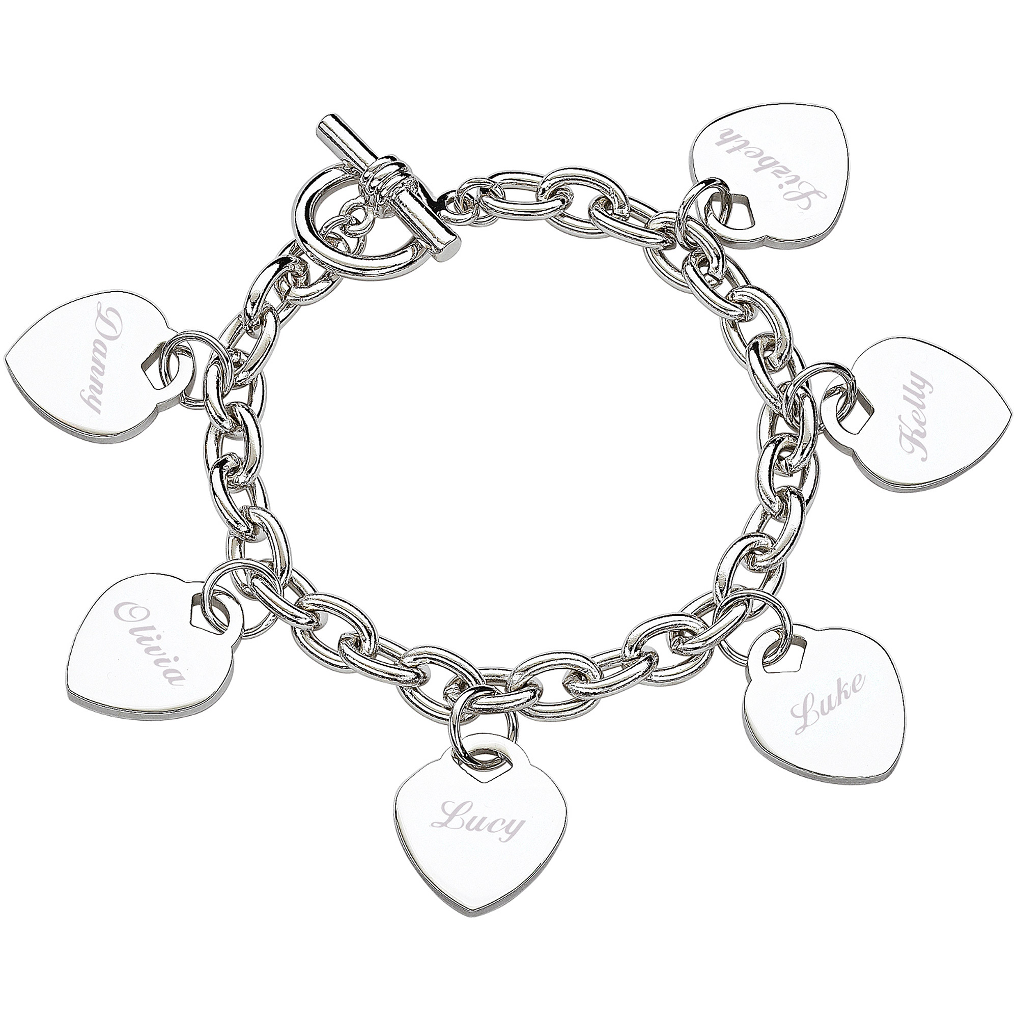 Personalized Silver-Tone Hearts Charm Bracelet