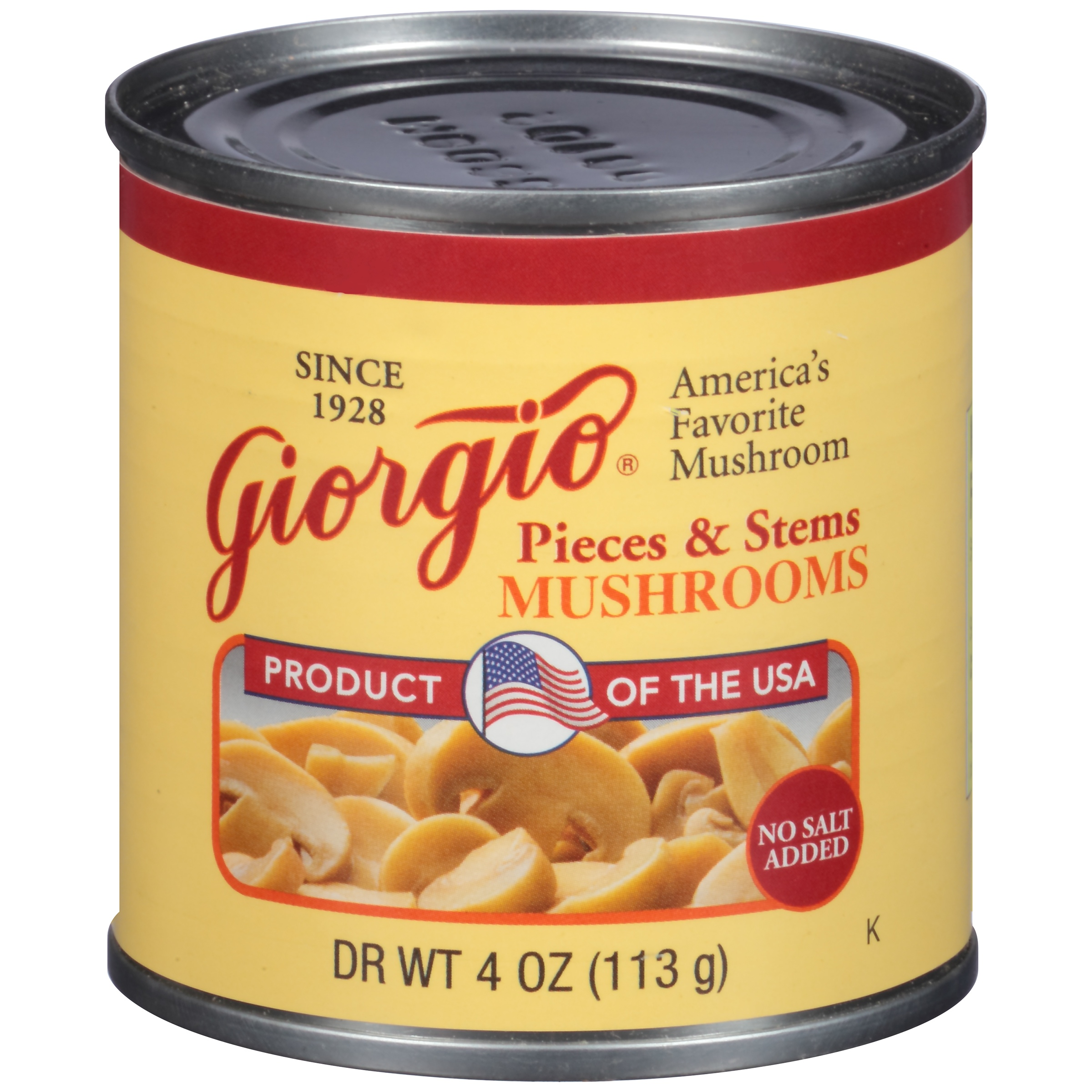 Giorgio No Salt Added Mushrooms Pieces & Stems, 4 oz by Giorgio Foods, Inc.