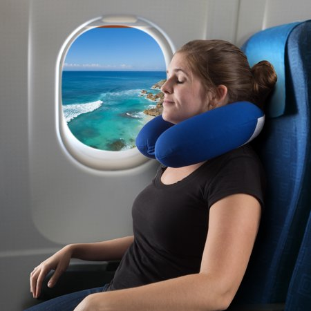 Memory Foam Travel Pillow- With Gel That Cools for Head/Neck Support with Pillowcase for Sleeping, Traveling, Airplanes, Trains by
