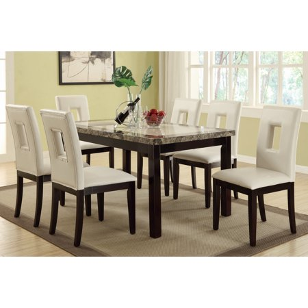 Casual Two Toned Faux Marble Top Dining Table Square Eyelet Cuts White Leather Side Chairs