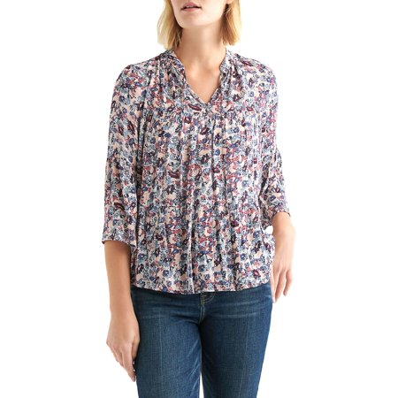 Ditsy Floral Gathered Top (Lucky Brand Floral Print Top Apparel)
