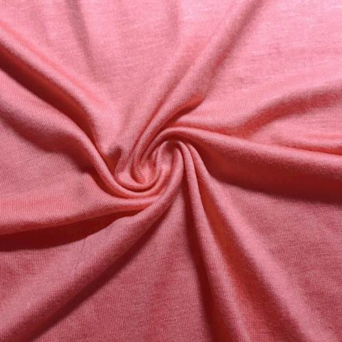 Coral Pink Rayon Jersey Knit, Fabric By the Yard
