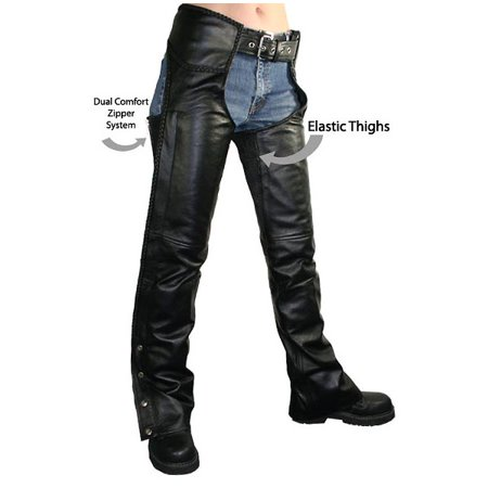 Xelement B7556 Womens Black Braided Zippered Leather Chaps