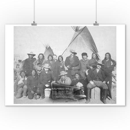 White Men (including Buffalo Bill) and Lakota Indian Chiefs Group #1 Photograph (9x12 Art Print, Wall Decor Travel Poster)
