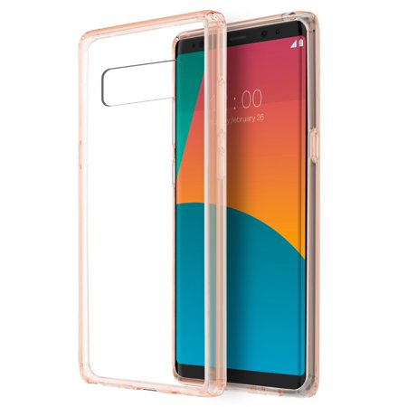 Reinforced Shell - Galaxy Note 8 Clear Case, Premium Shockproof Fusion Candy Slim Fit Transparent Clear Hard Shell Back Cover Reinforced Corners TPU Bumper Case for Galaxy Note 8 (2017) - Crystal Clear/ Pink