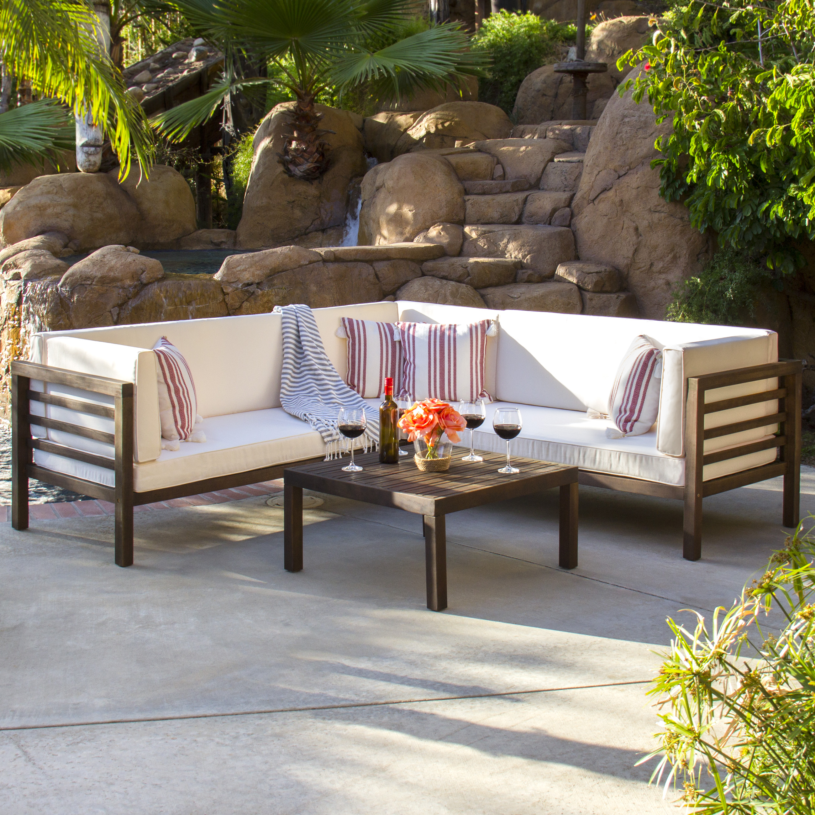Super Best Choice Products 4 Piece Acacia Wood Outdoor Patio Sectional Sofa Set W Water Resistant Cushions Table Espresso Gmtry Best Dining Table And Chair Ideas Images Gmtryco