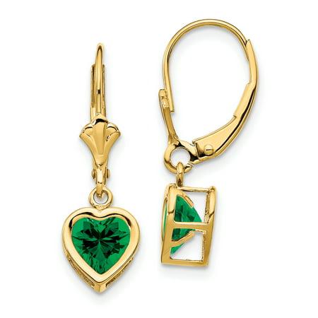 14K Yellow Gold 6mm Heart Mount St. Helens Dangle Earrings