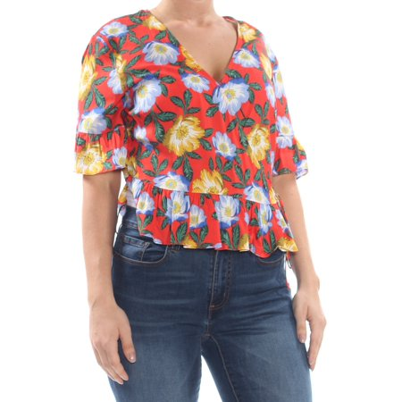 THE FIFTH LABEL Womens Red Floral Short Sleeve V Neck Wrap Top  Size: