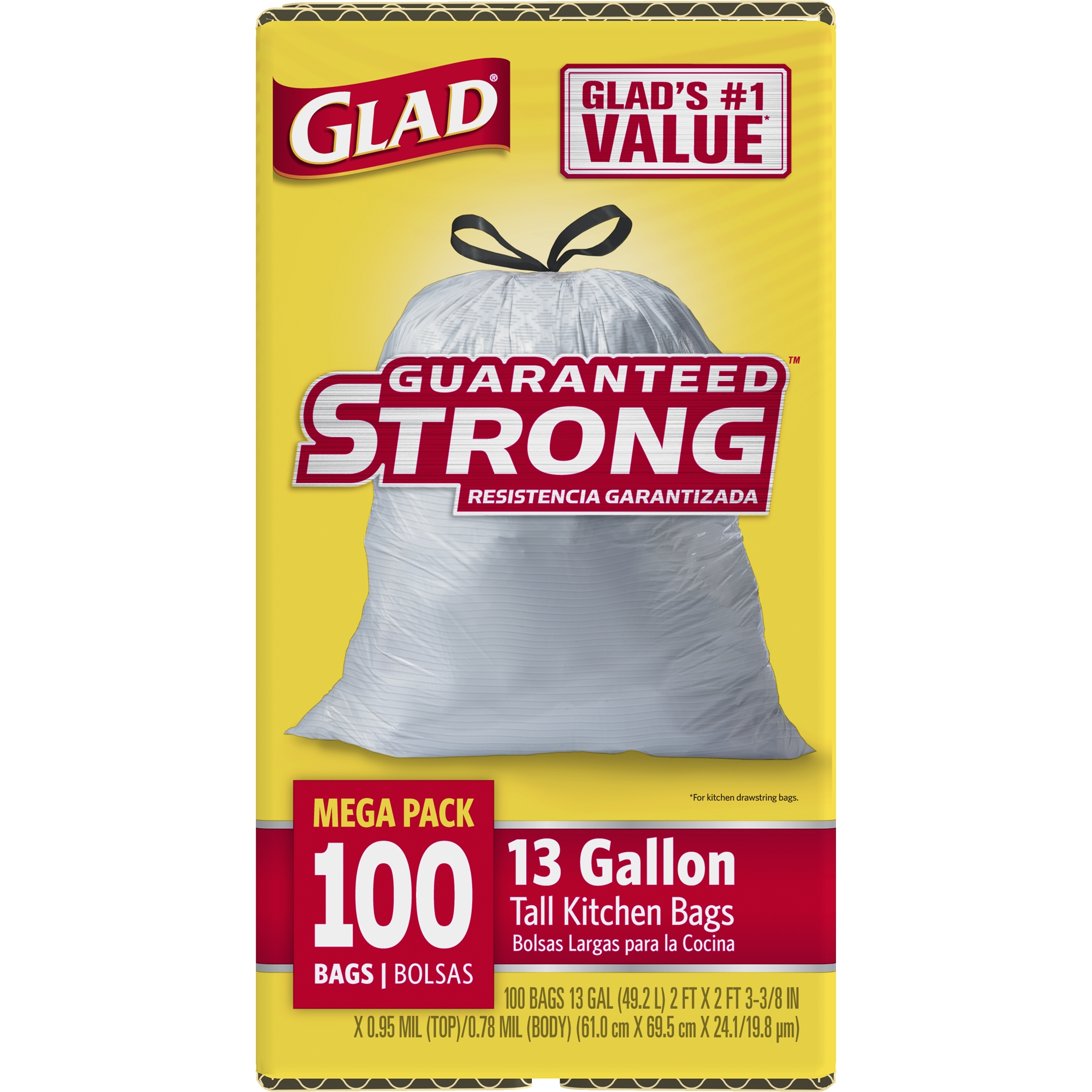Glad Tall Kitchen Drawstring Trash Bags, 13 Gallon, 100 Count